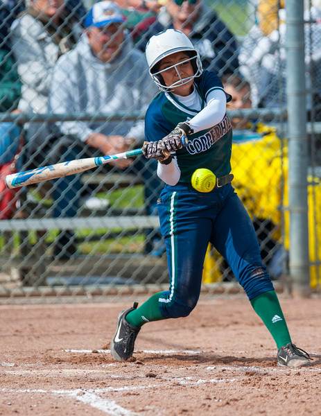 Copper Hills batter Estrad (6) get s a piece of the ball during the softball game against Fremont High School Thursday in Plain City On May 18, 2017. Fremont High School falls to Copper Hills 10-9.
