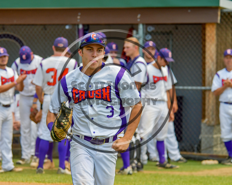 Cortland Crush Broderick Santilli (3) being introduced before playing the Syracuse Junior Chiefs on Greg's Field at Beaudry Park in Cortland, New York on Sunday, June 19, 2016.