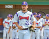 Cortland Crush Dylan Leahy (22) being introduced before playing the Syracuse Junior Chiefs on Greg's Field at Beaudry Park in Cortland, New York on Sunday, June 19, 2016.