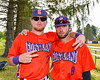 Cortland Crush George Haaland (34) and David Murphy (8) on Greg's Field at Beaudry Park in Cortland, New York on Thursday, July 21, 2016.