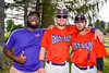 Cortland Crush Quaine Joseph with players George Haaland (34) and David Murphy (8) on Greg's Field at Beaudry Park in Cortland, New York on Thursday, July 21, 2016.