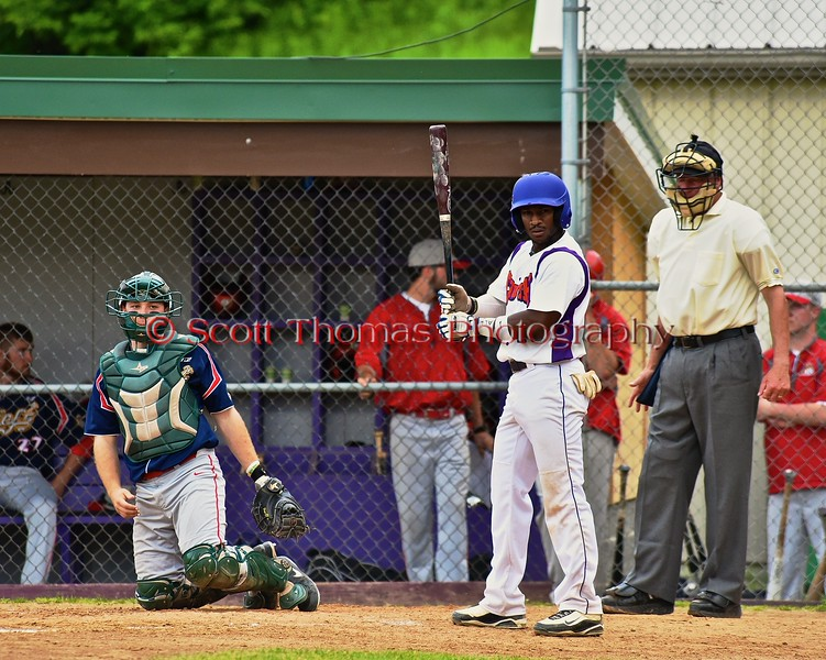 Cortland Crush Terrell Barringer (23) checking with his Third Base Coach before batting against the Syracuse Junior Chiefs on Greg's Field at Beaudry Park in Cortland, New York on Friday June 5, 2015. Cortland won 5-2.
