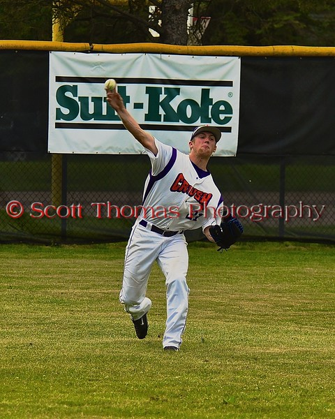 Cortland Crush Alex Loberger (21) throwing the ball from the outfield against the Syracuse Junior Chiefs on Greg's Field at Beaudry Park in Cortland, New York on Friday June 5, 2015. Cortland won 5-2.
