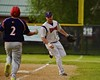 Cortland Crush Zephan Kash (25) after making a forced out against Syracuse Junior Chiefs Ryan Pingitore (2) on Greg's Field at Beaudry Park in Cortland, New York on Friday June 5, 2015. Cortland won 5-2.