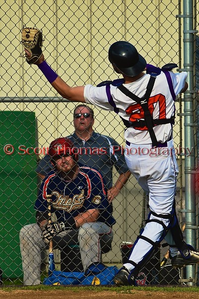 Cortland Crush catcher Chris Mattison (20) snags a pop up against the Syracuse Junior Chiefs on Greg's Field at Beaudry Park in Cortland, New York on Friday June 5, 2015. Cortland won 5-2.
