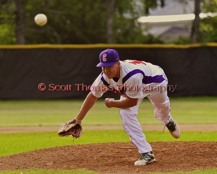 Cortland Crush Ryan Smith (13) comes in for relief against the Syracuse Junior Chiefs on Greg's Field at Beaudry Park in Cortland, New York on Friday June 5, 2015. Cortland won 5-2.