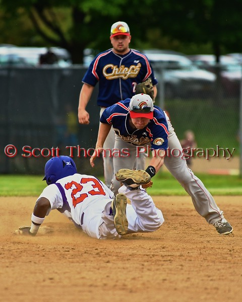 Cortland Crush Terrell Barringer (23) gets tagged out at second base by a Syracuse Junior Chiefs player on Greg's Field at Beaudry Park in Cortland, New York on Friday June 5, 2015. Cortland won 5-2.