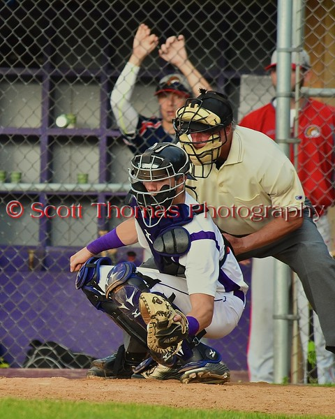 Cortland Crush catcher Chris Mattison (20) behind the plate against the Syracuse Junior Chiefs on Greg's Field at Beaudry Park in Cortland, New York on Friday June 5, 2015. Cortland won 5-2.