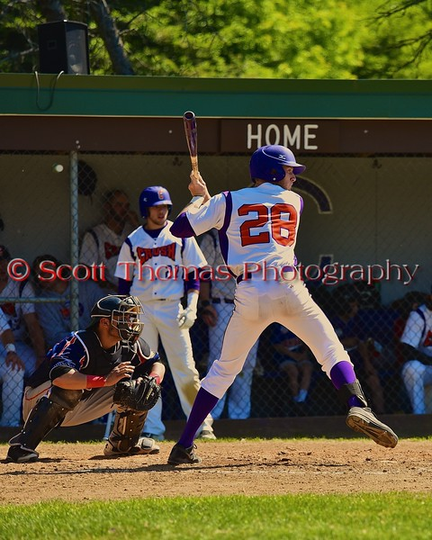 Cortland Crush Yale Brian Hughes (28) about to take a swing against the Syracuse Junior Chiefs on Greg's Field at Beaudry Park in Cortland, New York on Sunday June 7, 2015. Syracuse won 11-8.