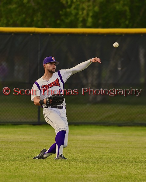 Cortland Crush Julian Gallup (9) throws the ball from the outfield against the Syracuse Junior Chiefs on Greg's Field at Beaudry Park in Cortland, New York on Sunday June 7, 2015. Syracuse won 11-8.
