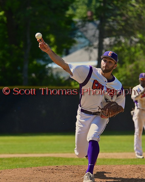 Cortland Crush Chris Rupprecht (10) warming up before pitching to the Syracuse Junior Chiefs on Greg's Field at Beaudry Park in Cortland, New York on Sunday June 7, 2015. Syracuse won 11-8.