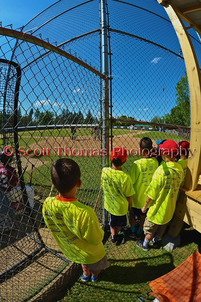 Crown City Little League players watch the Cortland Crush play the Syracuse Junior Chiefs on Greg's Field at Beaudry Park in Cortland, New York on Sunday June 7, 2015. Syracuse won 11-8.