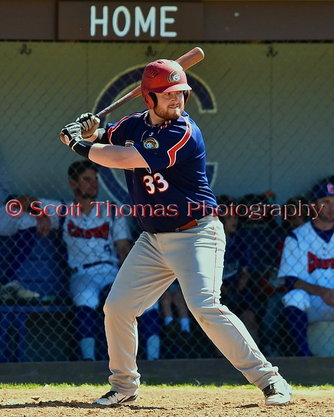 Syracuse Junior Chiefs Brian Colbert (33) at bat against the Cortland Crush on Greg's Field at Beaudry Park in Cortland, New York on Sunday June 7, 2015. Syracuse won 11-8.
