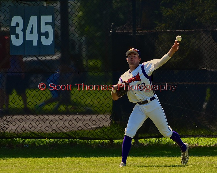 Cortland Crush Grant Hoover (18) throwing the ball from the outfield against the Syracuse Junior Chiefs on Greg's Field at Beaudry Park in Cortland, New York on Sunday June 7, 2015. Syracuse won 11-8.