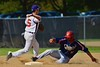 Cortland Crush Matthew Alberino (5) turning the double play against the Syracuse Junior Chiefs on Greg's Field at Beaudry Park in Cortland, New York on Sunday June 7, 2015. Syracuse won 11-8.
