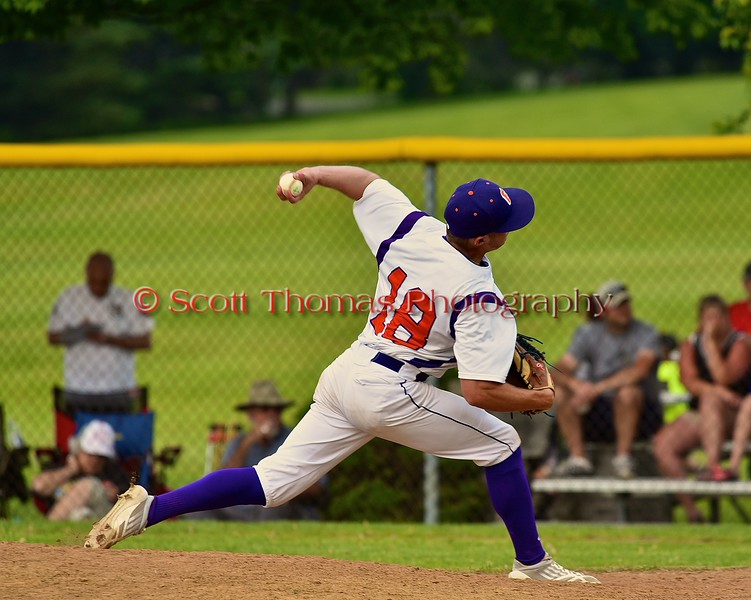 Cortland Crush Grant Hoover (18) warming up to pitch against the Syracuse Junior Chiefs on Greg's Field at Beaudry Park in Cortland, New York on Sunday June 7, 2015. Syracuse won 11-8.