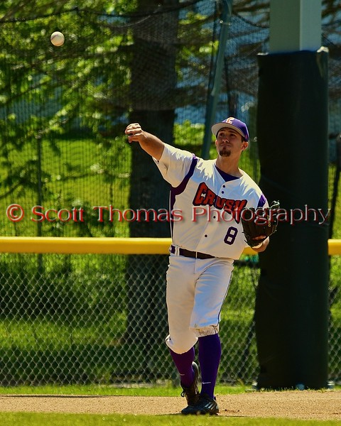 Cortland Crush Wesley Burghardt (8) warming up before playing the Syracuse Junior Chiefs on Greg's Field at Beaudry Park in Cortland, New York on Sunday June 7, 2015. Syracuse won 11-8.