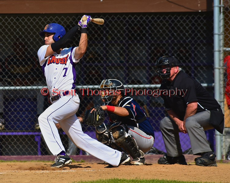 Cortland Crush Jose Arebalo (7) after a hit against the Syracuse Junior Chiefs on Greg's Field at Beaudry Park in Cortland, New York on Sunday June 7, 2015. Syracuse won 11-8.