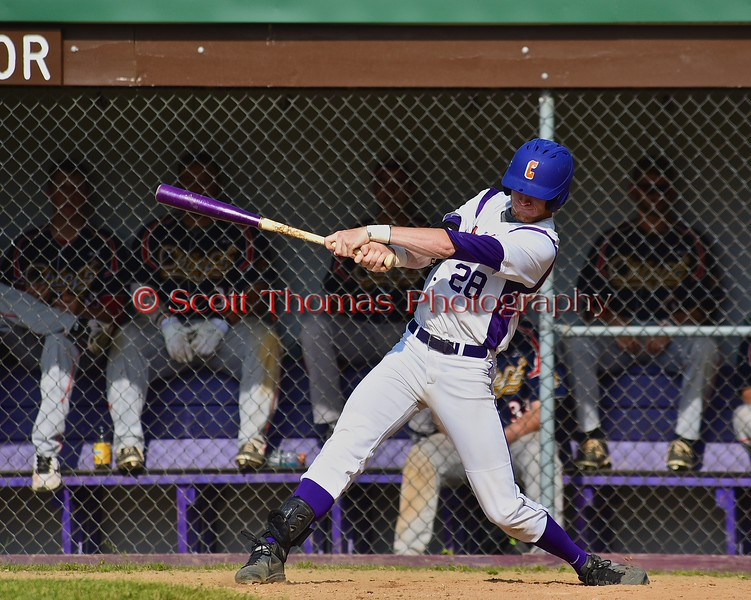 Cortland Crush Yale Brian Hughes (28) follows through on a hit against the Syracuse Junior Chiefs on Greg's Field at Beaudry Park in Cortland, New York on Sunday June 7, 2015. Syracuse won 11-8.