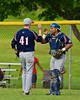 Syracuse Junior Chiefs pitcher Christopher Pennell (41) gets a high five from his catcher after defeating the Cortland Crush on Greg's Field at Beaudry Park in Cortland, New York on Sunday June 7, 2015. Syracuse won 11-8.