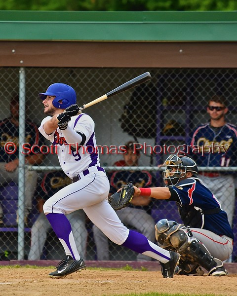 Cortland Crush Julian Gallup (9) watches his ball drop for a base hit against the Syracuse Junior Chiefs on Greg's Field at Beaudry Park in Cortland, New York on Sunday June 7, 2015. Syracuse won 11-8.
