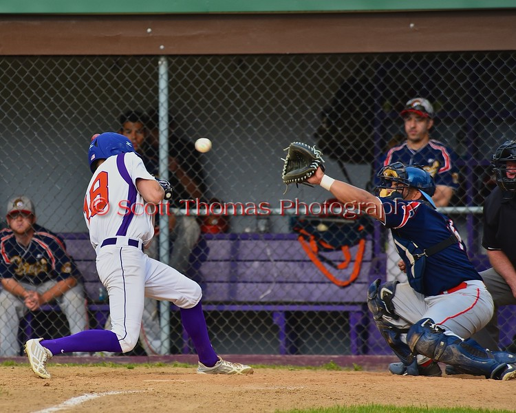 Cortland Crush Grant Hoover (18) avoided a high inside pitch by the Syracuse Junior Chiefs pitcher on Greg's Field at Beaudry Park in Cortland, New York on Sunday June 7, 2015. Syracuse won 11-8.
