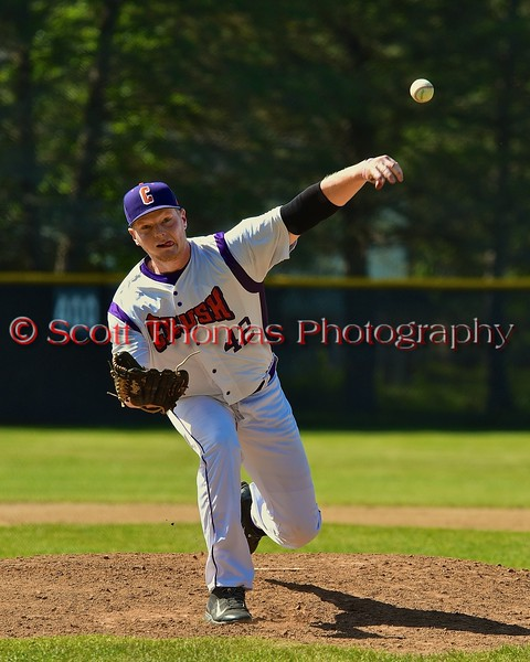 Cortland Crush Cody Barnes (42) coming in for relief against the Syracuse Junior Chiefs on Greg's Field at Beaudry Park in Cortland, New York on Sunday June 7, 2015. Syracuse won 11-8.