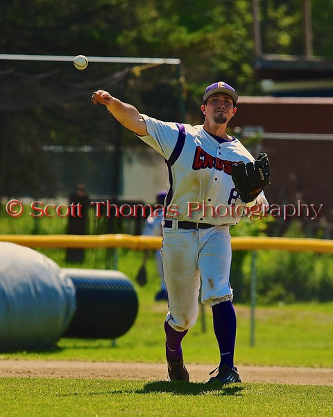 Cortland Crush Wesley Burghardt (8) warming up before the start of an inning against the Syracuse Junior Chiefs on Greg's Field at Beaudry Park in Cortland, New York on Sunday June 7, 2015. Syracuse won 11-8.