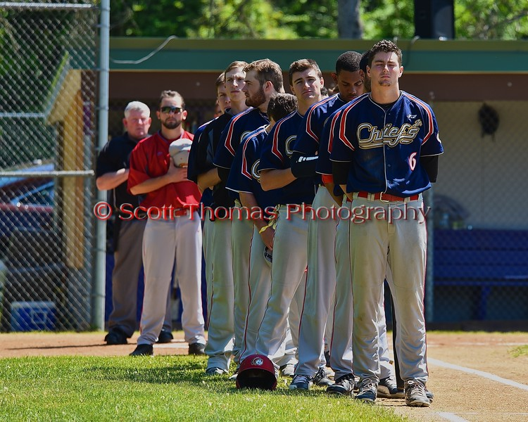 Syracuse Junior Chiefs standing for the National Anthem before playing the Cortland Crush on Greg's Field at Beaudry Park in Cortland, New York on Sunday June 7, 2015.