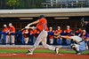 Cortland Crush Luke Gilbert (27) lifts a base hit against the Syracuse Salt Cats in Syracuse, New York on Wednesday June 10, 2015.  Syracuse won 5-2.
