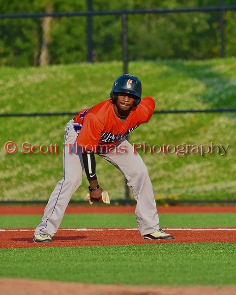 Cortland Crush Terrell Barringer (23) leading off first base against Syracuse Salt Cats in Syracuse, New York on Wednesday June 10, 2015.  Syracuse won 5-2.