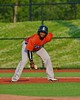 Cortland Crush Terrell Barringer (23) leading off first base against Syracuse Salt Cats in Syracuse, New York on Wednesday June 10, 2015.  Syracuse won 5-2.