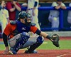 Cortland Crush catcher George Haaland (34) behind Home plate against the Syracuse Salt Cats in Syracuse, New York on Wednesday June 10, 2015.  Syracuse won 5-2.