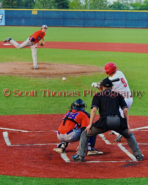 Cortland Crush Shae Edmonds (15) pitching to catcher George Haaland (34) against the Syracuse Salt Cats in Syracuse, New York on Wednesday June 10, 2015.  Syracuse won 5-2.