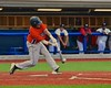 Cortland Crush Luke Gilbert (27) puts bat to ball against the Syracuse Salt Cats in Syracuse, New York on Wednesday June 10, 2015.  Syracuse won 5-2.