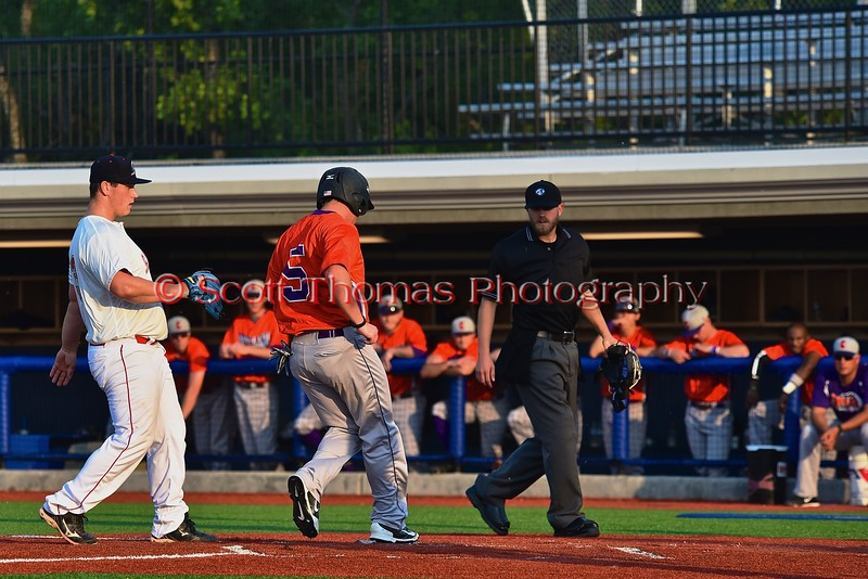 Cortland Crush Matthew Alberino (5) scores a run against the Syracuse Salt Cats in Syracuse, New York on Wednesday June 10, 2015.  Syracuse won 5-2.