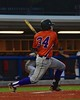Cortland Crush George Haaland (34) follows through on a hit against the Syracuse Salt Cats in Syracuse, New York on Wednesday June 10, 2015.  Syracuse won 5-2.