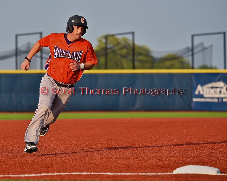 Cortland Crush Matthew Alberino (5) heading to third base against the Syracuse Salt Cats in Syracuse, New York on Wednesday June 10, 2015.  Syracuse won 5-2.