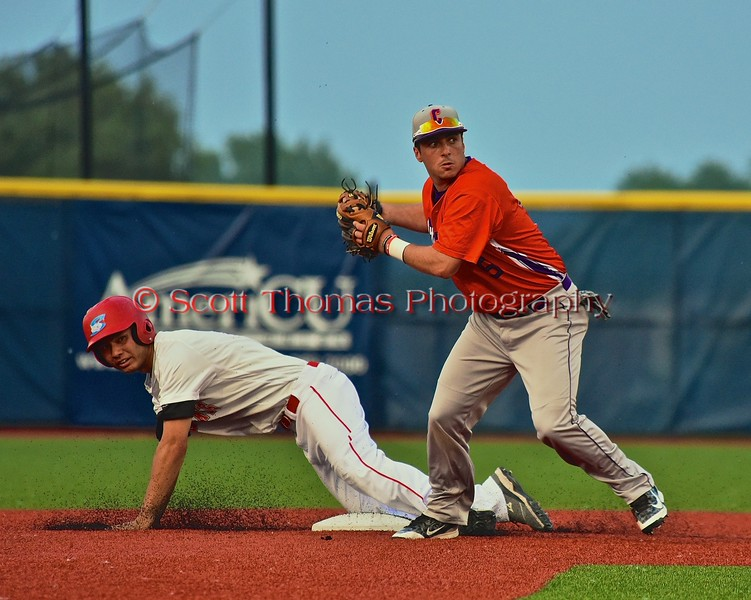Cortland Crush Matthew Alberino (5) about to throw the ball to Home against the Syracuse Salt Cats in Syracuse, New York on Wednesday June 10, 2015.  Syracuse won 5-2.
