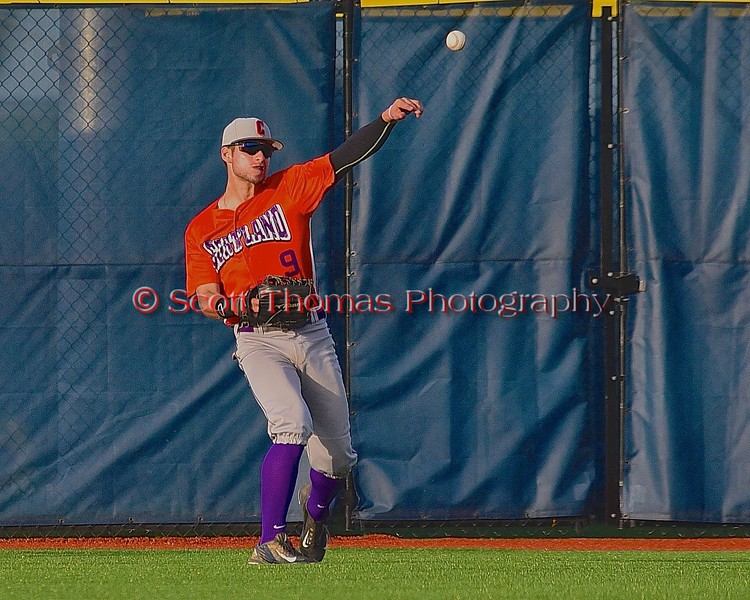 Cortland Crush Julian Gallup (9) throws the ball after making a catch against the Syracuse Junior Chiefs in Syracuse, New York on Friday June 19, 2015. Cortland won 7-5.