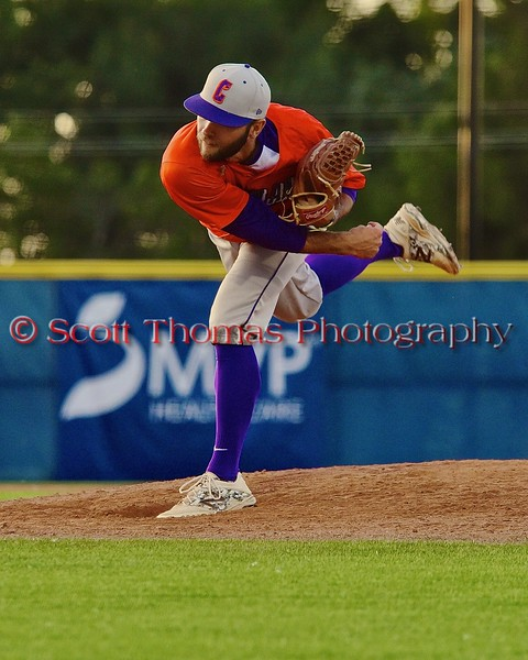 Cortland Crush Chris Rupprecht (10) pitching against the Syracuse Junior Chiefs in Syracuse, New York on Friday June 19, 2015. Cortland won 7-5.