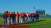 Cortland Crush players line up on the First Base line for the National Anthem before playing the Syracuse Junior Chiefs in Syracuse, New York on Friday June 19, 2015.