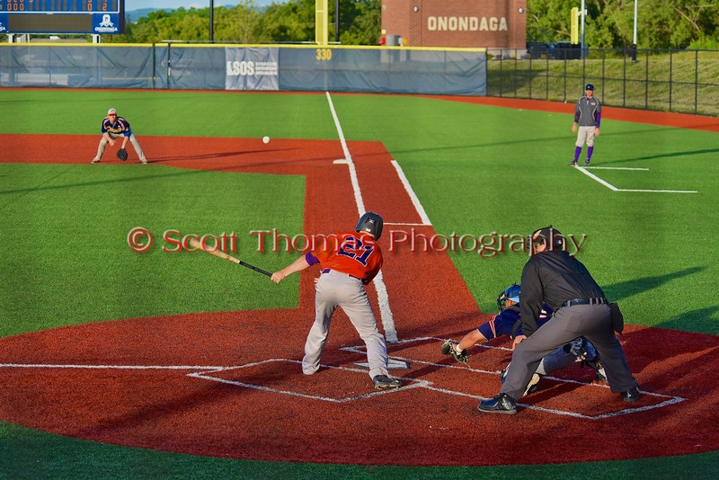 Cortland Crush Alex Loberger (21) hits the ball against the Syracuse Junior Chiefs in Syracuse, New York on Friday June 19, 2015. Cortland won 7-5.