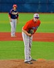 Cortland Crush Cody Barnes (42) on the mound against the Syracuse Junior Chiefs in Syracuse, New York on Friday June 19, 2015. Cortland won 7-5.