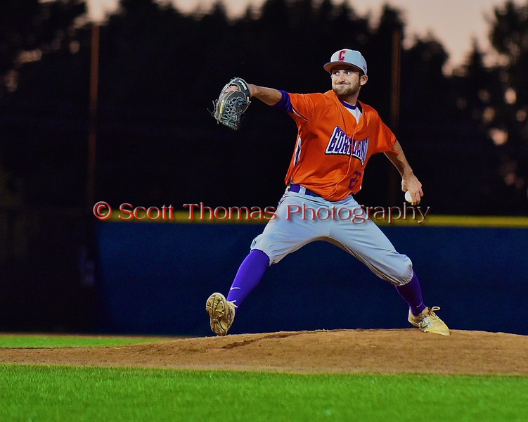 Cortland Crush Adam Halowienka (22) pitching against the Syracuse Junior Chiefs in Syracuse, New York on Friday June 19, 2015. Cortland won 7-5.