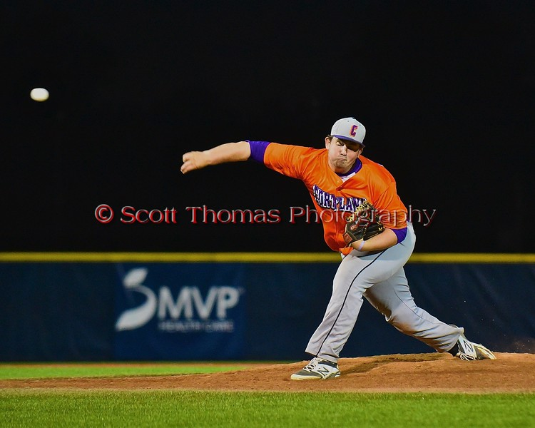 Cortland Crush Tyler Saundry (35) pitching against the Syracuse Junior Chiefs in Syracuse, New York on Friday June 19, 2015. Cortland won 7-5.