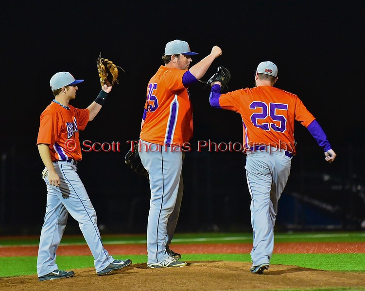 Cortland Crush Tyler Saundry (35) gets congratulated after completing the game against the Syracuse Junior Chiefs in Syracuse, New York on Friday June 19, 2015. Cortland won 7-5.