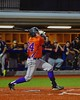 Cortland Crush George Haaland (34) watches the ball after a hit against the Syracuse Junior Chiefs in Syracuse, New York on Friday June 19, 2015. Cortland won 7-5.