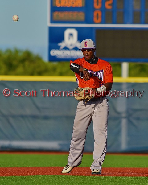 Cortland Crush Terrell Barringer (23) throwing the ball against the Syracuse Junior Chiefs in Syracuse, New York on Friday June 19, 2015. Cortland won 7-5.