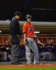 Cortland Crush Matthew Alberino (5) has a word with the Umpire during a timeout against the Syracuse Junior Chiefs in Syracuse, New York on Friday June 19, 2015. Cortland won 7-5.